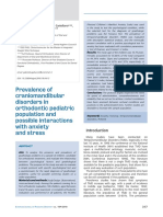 Prevalence of craniomandibular disorders in orthodontic pediatric population and possible interactions with anxiety and stress