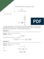 Resolução Prova 3 Eletrônica Analógica