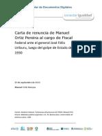 Carta de Renuncia de Manuel Ortiz Pereyra Del Cargo de Fiscal Luego Del Golpe