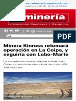 20190218-Kinross Retomará Operación en La Coipa, y Seguiría Con Lobo-Marte