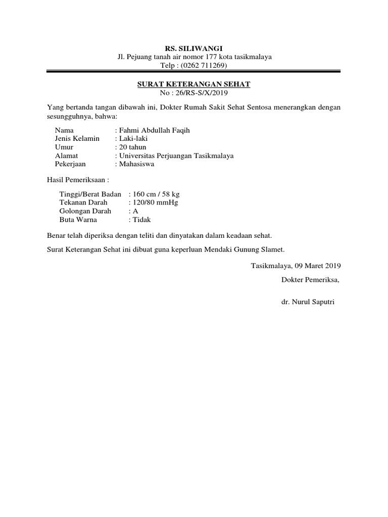 Contoh Surat Keterangan Sehatdocx