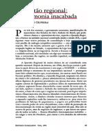 A questão regional Francisco de Oliveira