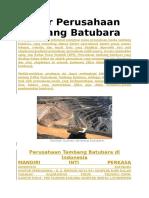 Daftar Perusahaan Tambang Batubara