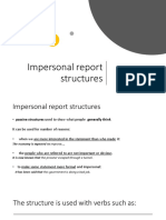 Impersonal Passive-Report Structures