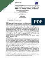 Aghajanloo, Mobini, F., & Khosravi, R. (2016). the Effect of Teachers' Written Corrective Feedback (WCF) Types on Intermediate EFL Learners' Writing Performance. Advances in Language and Literary Studies