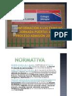 INFORMACION a LAS FAMILIAS Jornadas Puertas Abiertas (2019)