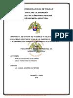 PROPUESTA PARA LA IMPLEMENTACIÓN DE UN PLAN DE SEGURIDAD Y SALUD OCUPACIONAL PARA CONTROLAR LOS RIESGOS Y REDUCIR LOS ACCIDENTES EN LA DIVISIÓN DE MANTENIMIENTO DE LA EMPRESA DE SERVICIO DE AGUA POTABLE Y ALCANTARILLADO DE LA LIBERTAD – SEDALIB S.A.