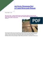 Cara dan Teknis Kerja Memasang Besi Tulangan Pelat Lantai Beton pada Rumah Lantai 2.docx