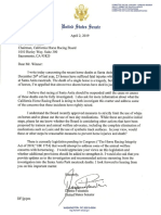 Sen. Dianne Feinstein's letter to the California Horse Racing Board