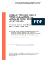 Fernandez, Graciela Maria Elena, Izuz (..) (2006). Ensenar y Aprender a Leer a Partir Del Paratexto. La Lectura de Textos Complejos en La (..)