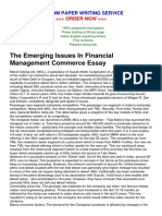 The Emerging Issues in Financial Management Commerce Essay