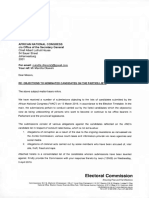 Electoral Commission of South Africa letter to the ANC