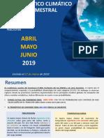 Pronostico Climatico Trimestral Abril - Mayo - Junio