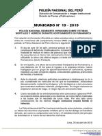 COMUNICADO PNP N° 19 - 2019