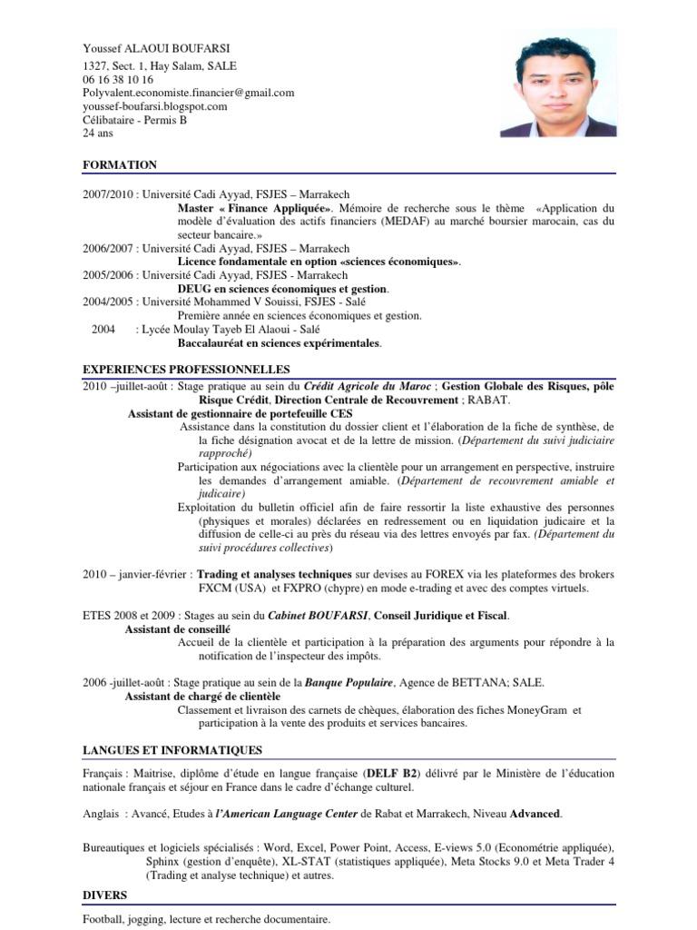 Cv Youssef Alaoui Boufarsi   Modèle d'évaluation des ...