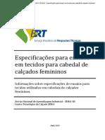 Especificaes Para Ensaios Em Tecidos Para Cabedal de Calados Femininos PDF