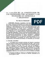 Control de La Constitución de Sociedades Por Acciones y Las Nulidades en Venezuela y Argentina_ Roberto Goldschmidt