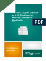 1. Concepto, Origen y Evolución de La IO Modelado Los Modelos Matemáticos Clasificación