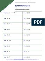 GCF LCM Worksheet