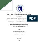 La gestión del talento humano y el desempeño laboral de los trabajadores administrativos de la Municipalidad PROVINCIAL de HUARAL - VIERNES.docx