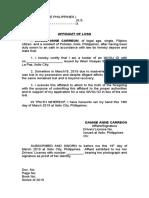 Affidavit of Wvsu Id Card