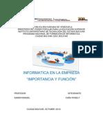 """INFORMATICA EN LA EMPRESA """"IMPORTANCIA Y FUNCIÓN"""""""