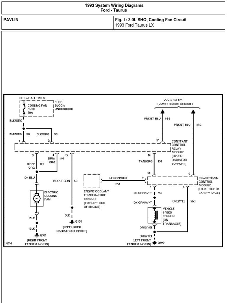 Ford Taurus 1993 Wiring | Ford Taurus | Private Transport | Ford Taurus Wiring Diagrams |  | Scribd