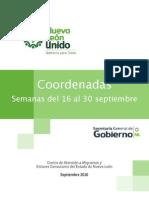 Migrantes   Coordenadas   16 al 30 de septiembre