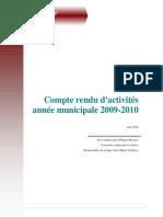 Compte rendu d'activités 2009-2010