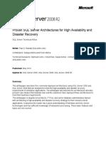 SQL Server 2008 R2 High Availability Architecture White Paper