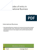 Modes of Entry in International Business