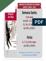 2019 Horario de Semana Santa y Feria - CRAI Antonio de Ulloa