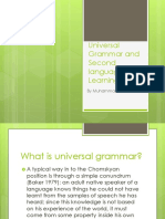 Universal Grammar and Second Language Learning