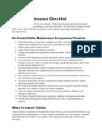 Chiller Maintenance Checklist