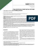 Correlation of Single Leg Vertical Jump, Single Leg Hop for Distance, And Single Leg Hop for Time