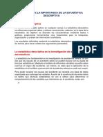 Resumen de La Importancia de La Estadistica Descriptiva