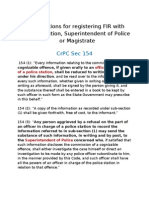 CrPC Sections for Registering FIR With Police Station, Superintendent of Police or Magistrate