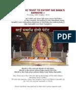 Shirdi Sai Trust to Patent Sai Baba's Samadhi