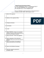 Application Form for Setting Up of Windfarm Under the Provisions of the Government Of