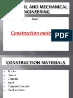 Unit I Construction Materials Presentation(1)