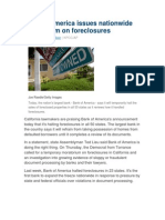 10-10-08 a) AP - Bank of America Issues Nationwide Moratorium on Foreclosures, b) CNBC - Foreclosure Primer