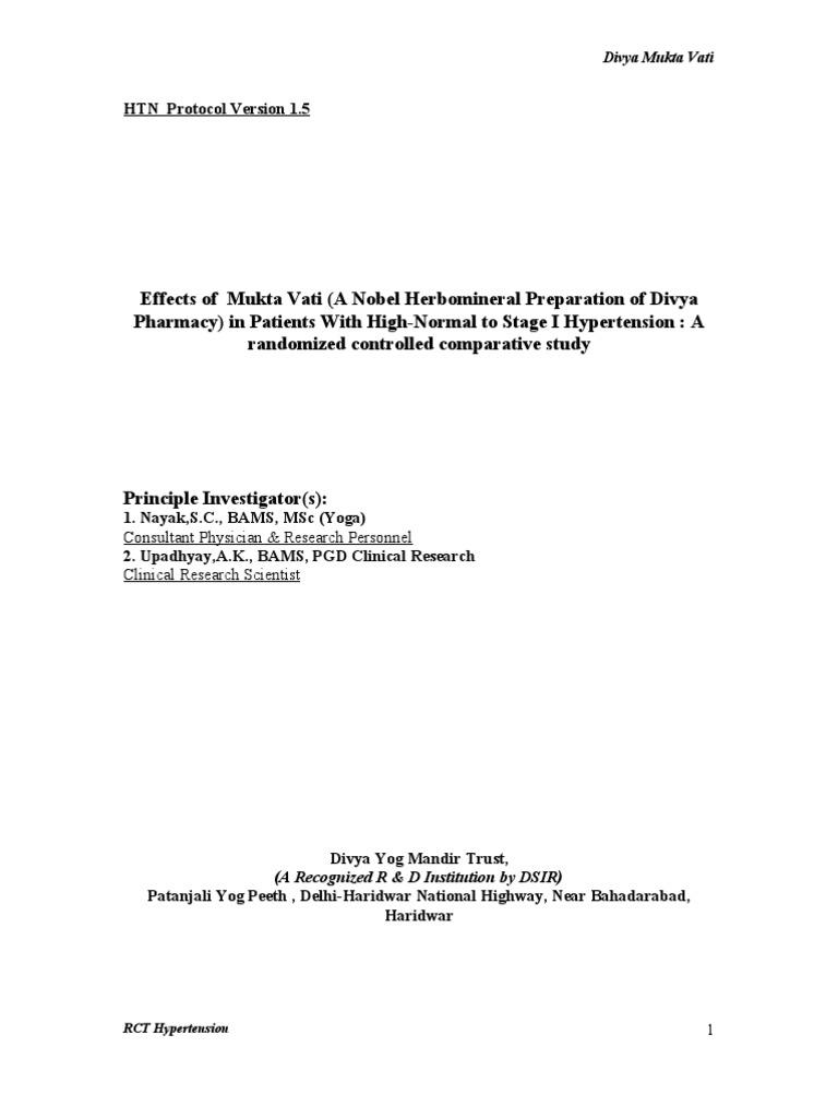 Hypertension Protocol Mukta Vati Blood Pressure Diastole