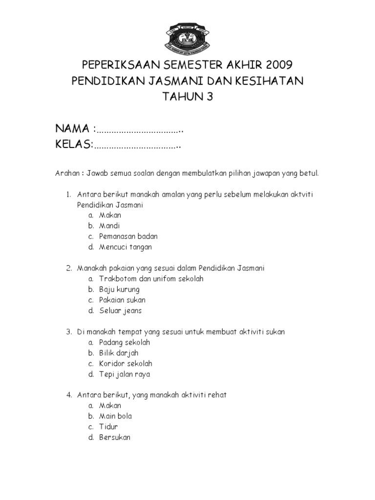 Soalan Pjk Thn 3