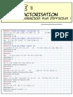 Factorisation - Supplement - Exercices Plus Difficiles