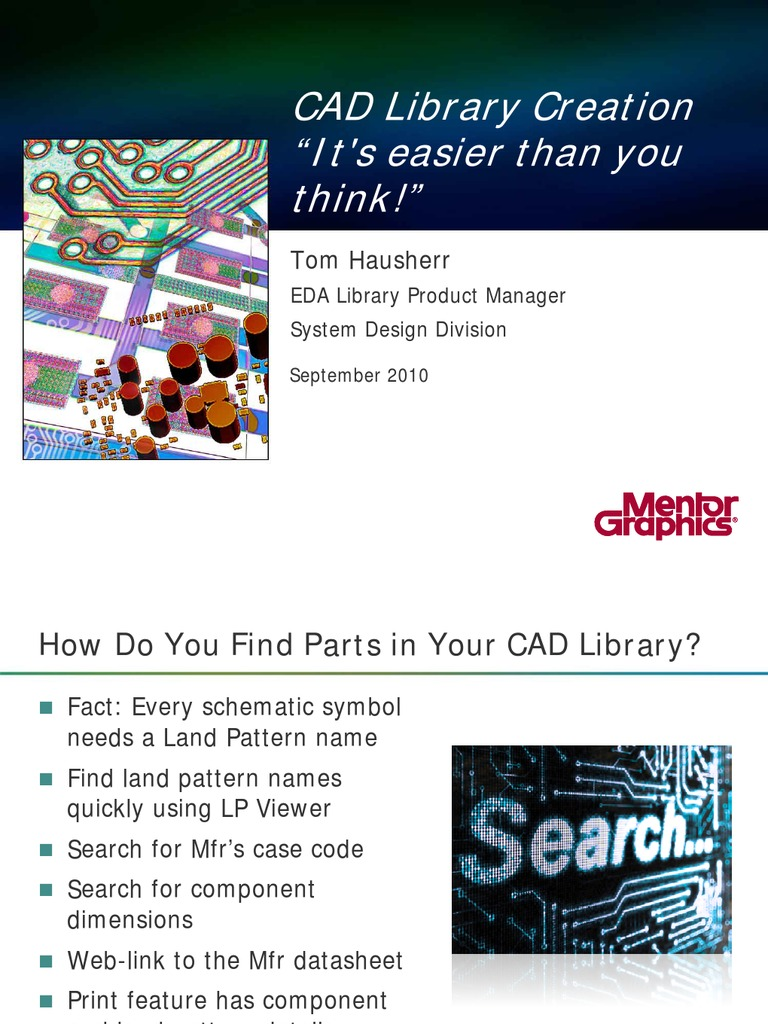 Mentor Seminar Cad Library Creation Computer Aided Design Lg Lcd Monitor Flatron L1718s Service Manual Computing