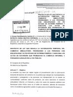 PROYECTO DE LEY QUE REGULA LA AUTORIZACION TEMPORAL DEL COMERCIO AMBULATORIO