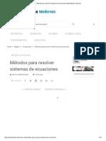 Métodos Para Resolver Sistemas de Ecuaciones _ Matematicas Modernas
