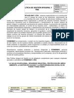 GG-DG-01 Política de Gestión Integral y RSE