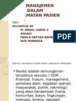 PERAN MANAJEMEN RESIKO DALAM KESELAMATAN PASIEN.pptx