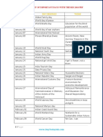 Important Days With Themes 2018 PDF